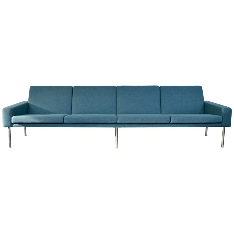 Hans Wegner Petrol Blue Four-Seater Airport Sofa by AP-Stolen