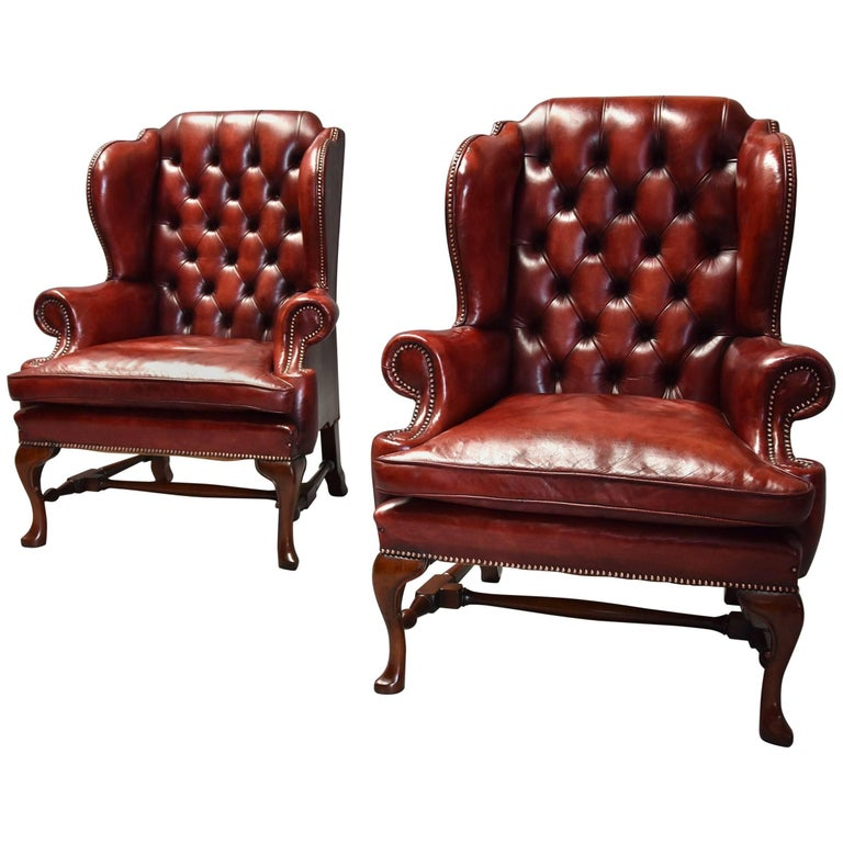 Pair of Early 20th Century Georgian Style Red Leather Wing Armchairs