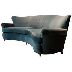 Dramatic Curved Sofa in the Style of Ico Parisi, Italy, 1950s, Fully Restored