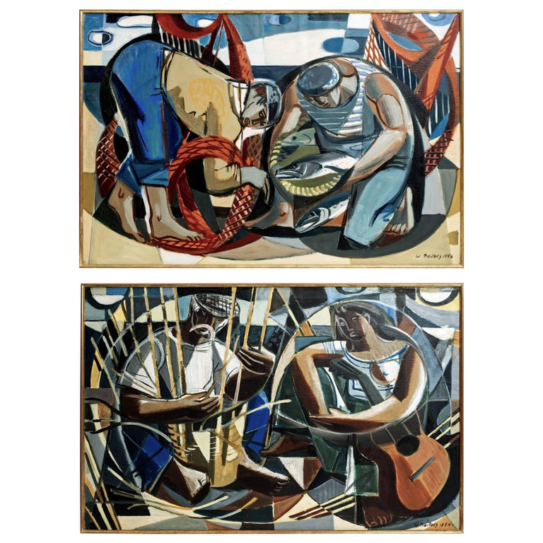 Pair of Edouard Baillods Fishermen Paintings