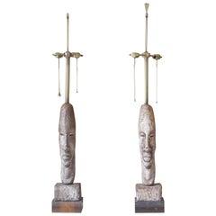 Monumental Designer Tiki / African Tribal Figural Lamps, Pair