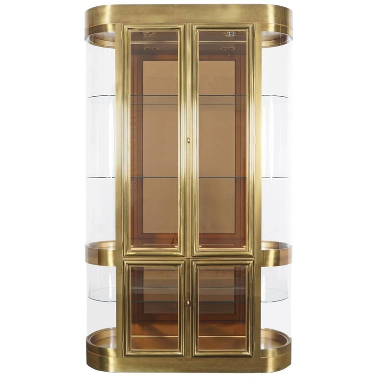 Exceptional Brass Vitrine Cabinet by Mastercraft
