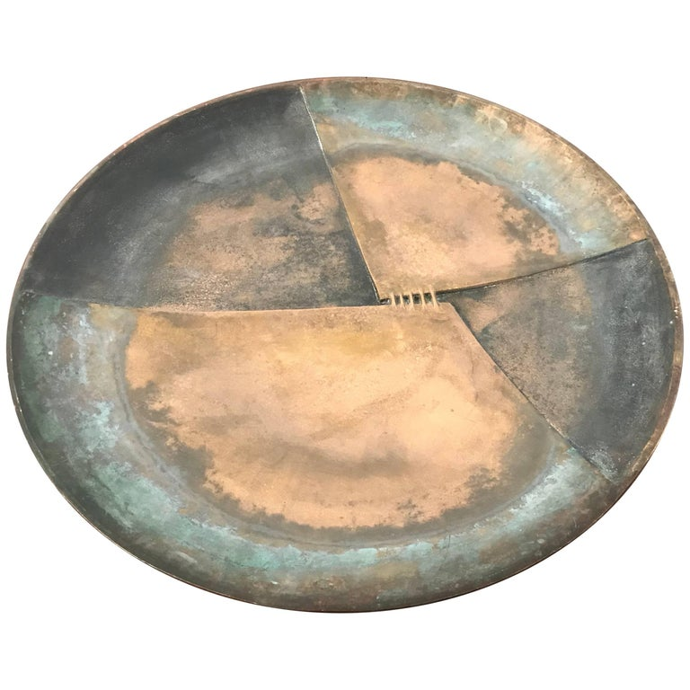 Esa Fedrigolli Bronze Icaro Large Italian Plate For Sale
