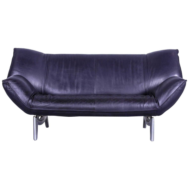 Leolux Tango Designer Leather Sofa Set Violet Two Seat Couch