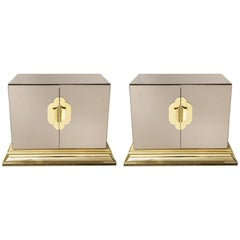 Pair of Mirrored Chests with Brass Handles and Details