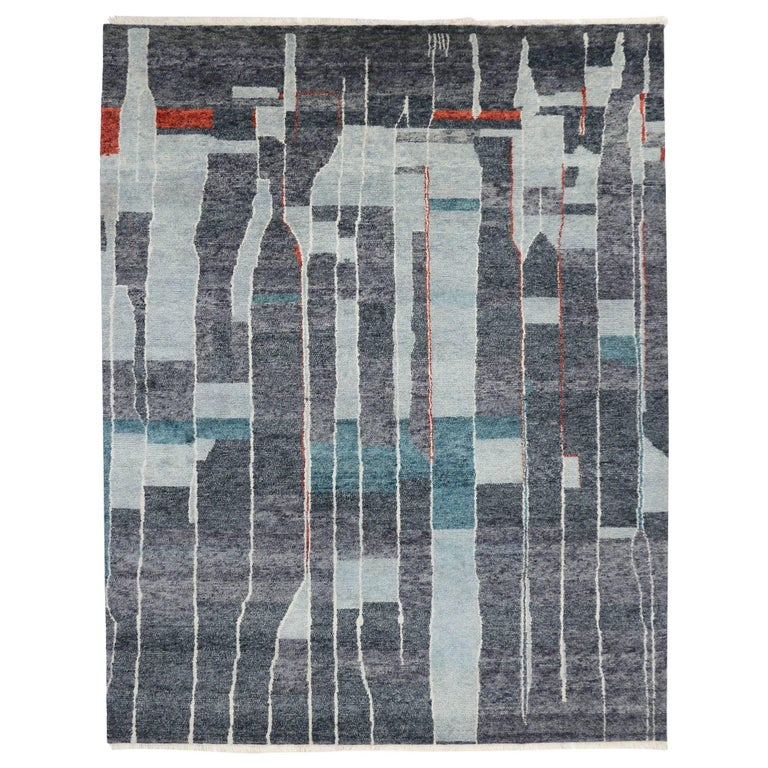 Contemporary Moroccan Style Rug With Modern Bauhaus Design Gray
