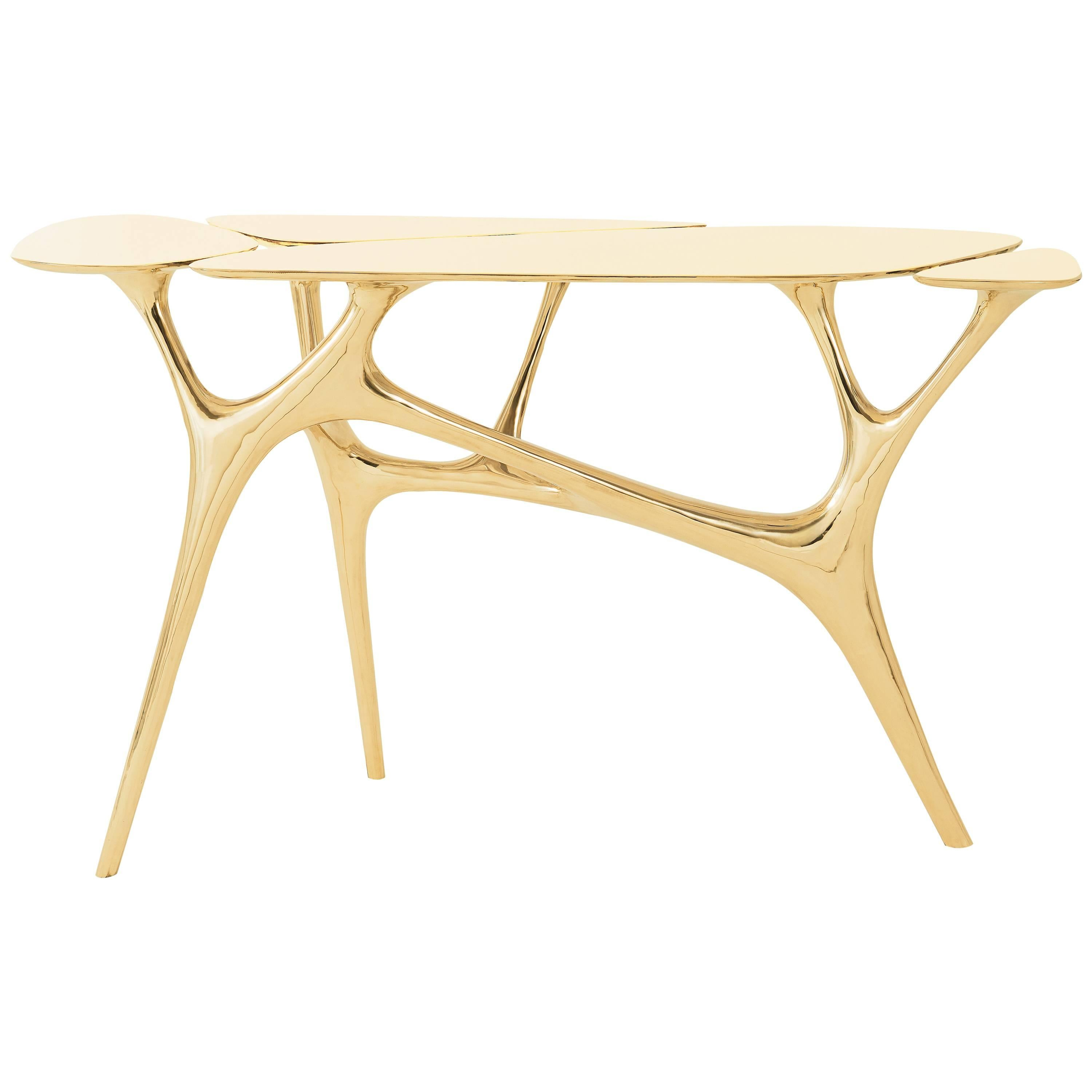 Lotus Console Table/Entry Way/Hallway Table Polished Brass by Zhipeng Tan