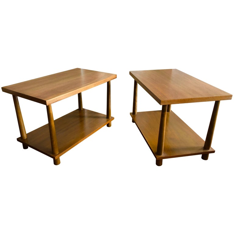 Pair of Walnut End Tables by T.H. Robsjohn-Gibbings For Sale