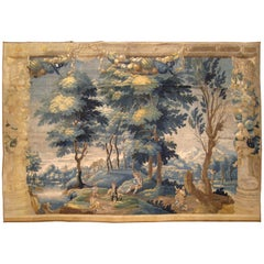 Antique 18th Century French Rustic Landscape Tapestry with Music and Dancing