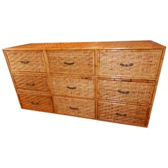 Mid Century Ficks and Reed Nine Drawer Bamboo and Wicker Dresser or Commode