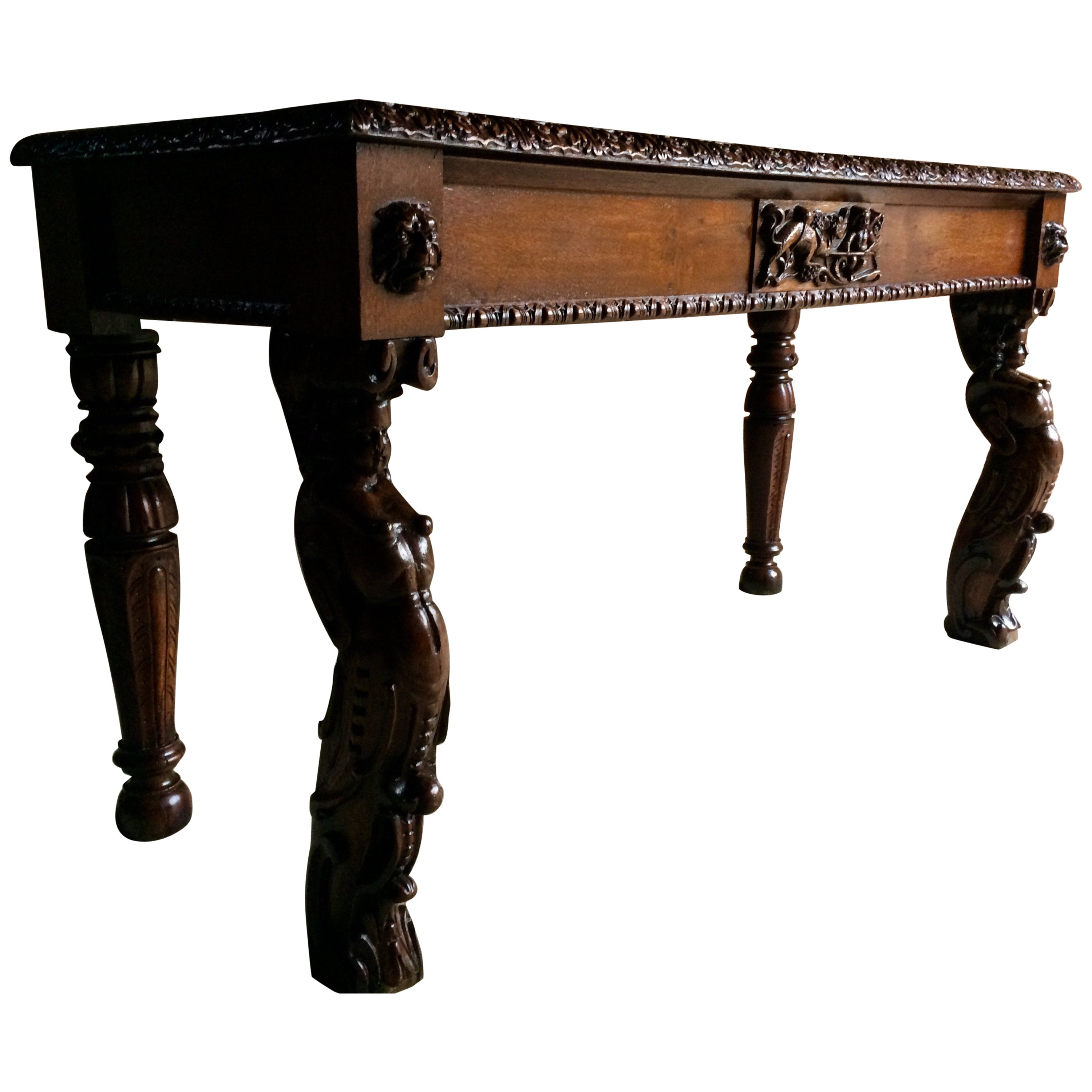Antique Hall Table Gothic Carved Oak Victorian 19th Century At 1stdibs