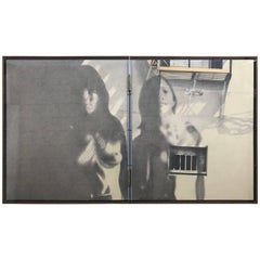 Modernist Diptych Painting by Listed Artist Jeffrey Kronsnoble, 1970 Nude NYC