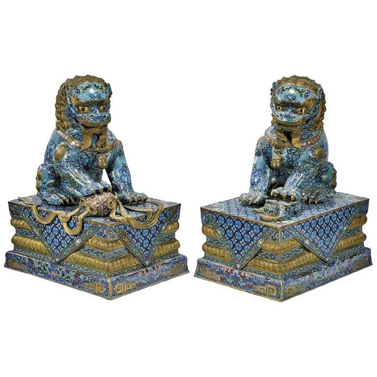 Pair of Massive Chinese Cloisonné Enamel Guardian Lions