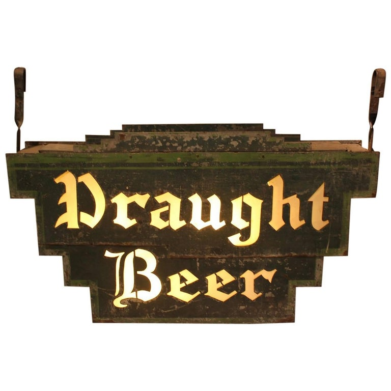 """1920s American Double Sided Light Up """"Draught Beer"""" Sign"""