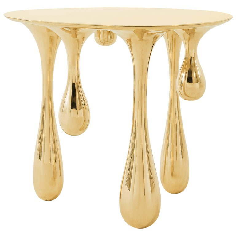 Melting Side Table Polished Brass by Zhipeng Tan For Sale