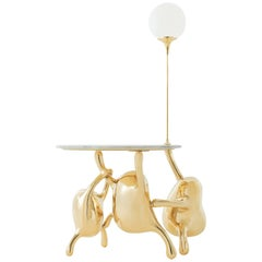 Tantan Side Table with Lamp, Adjustable Lamp Stick