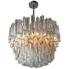 Signed Camer Eight-Tier  Glass Prism Chandelier, 1960s, Italia