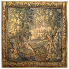 18th Century French Felletin Verdure Landscape Tapestry, with Birds and Trees