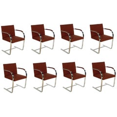 Set of Eight Chrome Brno Dining Chairs by Mies van der Rohe for Gratz Industries