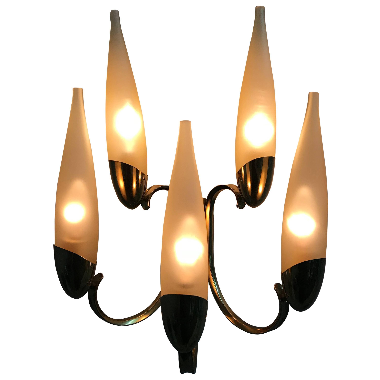 Mid-Century Modern Stilnovo Five-Light Brass and Glass Sconce, Italy, 1960