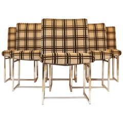 Set of Six Milo Baughman Style Dining Chairs in Chrome and Plaid Velvet