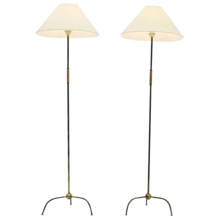Pair of Brass Floor Lamps Attributed to Kalmar, Austria, 1950s
