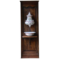 French Porcelain Faience Lavabo on an Oak Wood Door, 19th Century