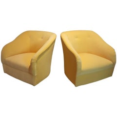 Majestic Ward Bennett Swivel Chairs Fully Restored in Canary Yellow Velvet 1960s