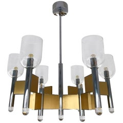 Chandelier Brass Chrome Glass by Sciolari. Italy, 1970s