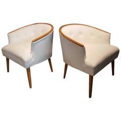 Elegant Mid Century Armchairs in Mahogany & Velvet, Style of Harvey Probber