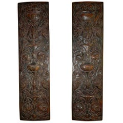 Pair of Oak Wood Architectural Carvings in the Flemish Style, 19th Century
