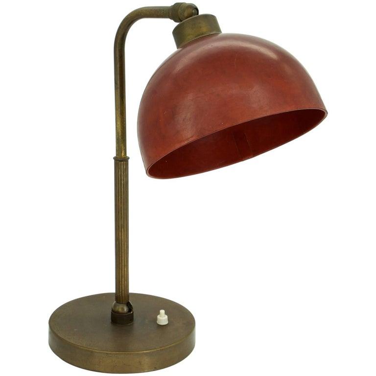 Red Bakelite Bauhaus Era Table Lamp