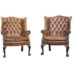 Two Leather Chesterfield Wingback Club Armchairs on Ball and Claw Feet