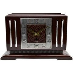 Large French Art Deco Bakelite Clock by JAZ, France, 1930s