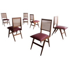 Set of Six Dining Chairs in Rosewood with Cane Back and Upholstered Seat