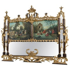 Palatial Chinese Chippendale Style Mirror with Ebonized and Antique Gold Leaf