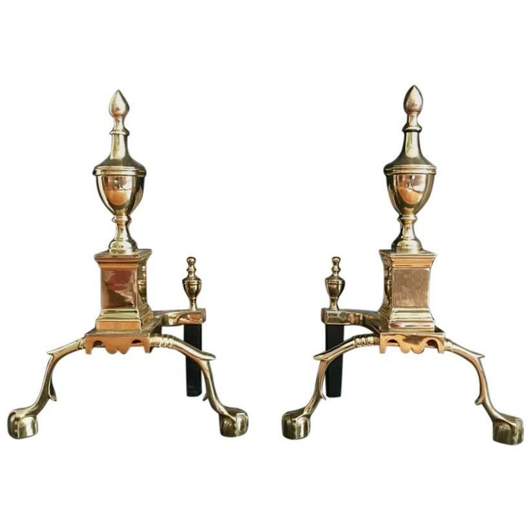 Pair of Brass Fireplace Andirons For Sale