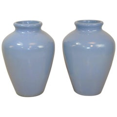 Pair of Light Blue Ceramic Floor Vases