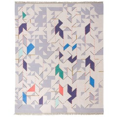 """Kilim Rug Super-Fine New Zealand Wool Yarn with Fringes """"Thing 2"""", Open Edition"""