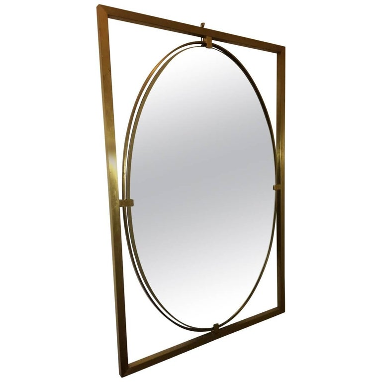 Pair of Italian Modern Floating Oval Brass Framed Mirrors