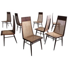 Set of Eight Dining Chairs in Rosewood with Cane Seat and Back