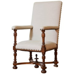 French Louis XIII Period Large Carved Walnut and Upholstered Fauteuil