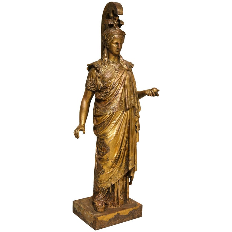 Neoclassical Gilt Iron Sculpture of Athena