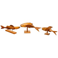 Three Carved Flying Fish