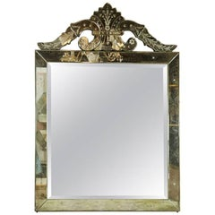 Distressed Antiqued Venetian Roma Style Square Mirror Crest Etched Detail