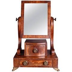 19th Century Mahogany Swing Mirror on Brass Feet