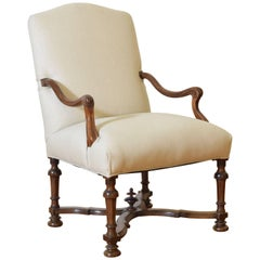 French Provincial Carved Walnut and Upholstered Fauteuil, 18th Century