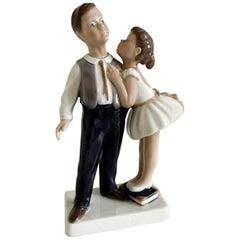 Lyngby Porcelain Figurine Boy and Girl, Pardon Me #93