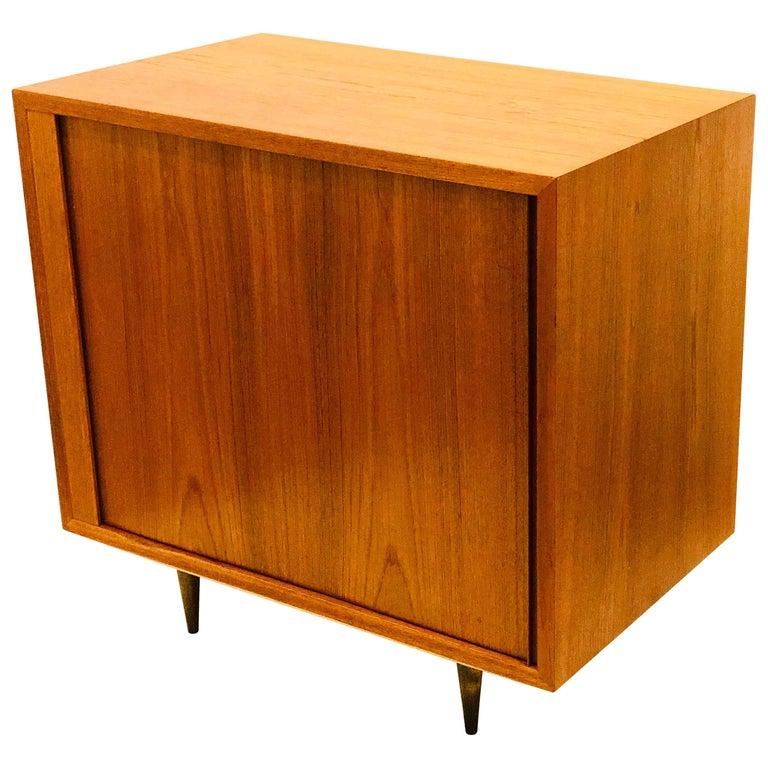 Danish Modern Tambour Door Petite Teak Cabinet by Hundevad