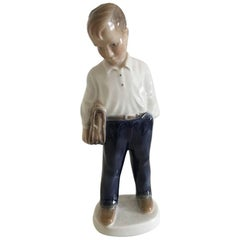 Lyngby Porcelain Figurine of a School Boy